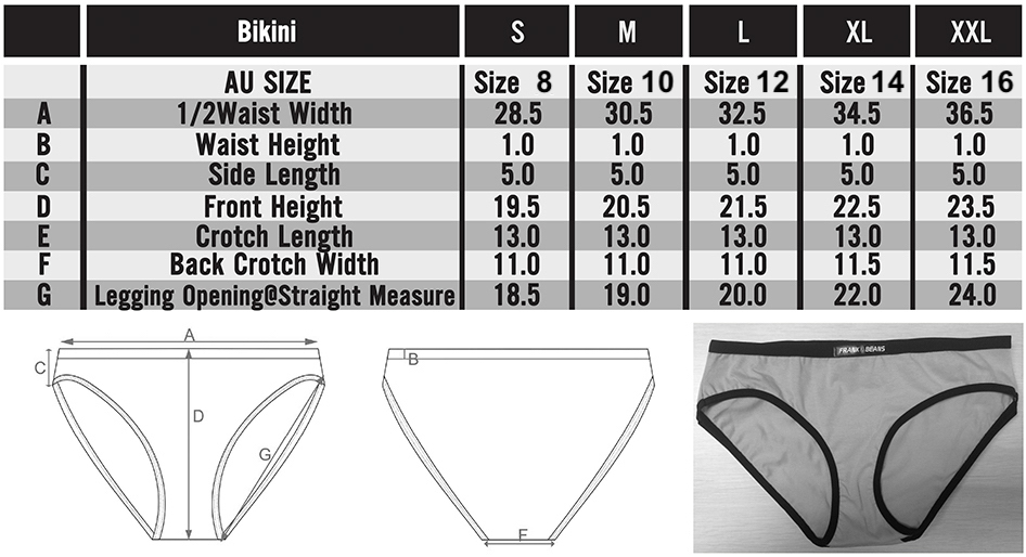 Size chart in depth ladies bikini frank and beans