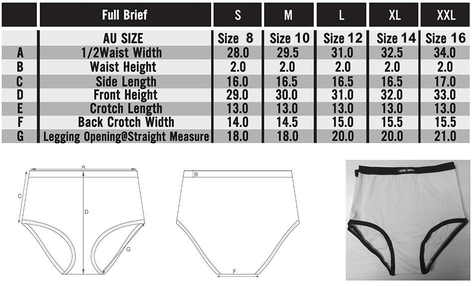 Frank and Beans underwear ladies full brief size chart in depth sizing