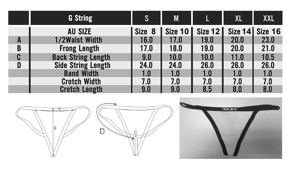 Size chart in depth ladies g string gee frank and beans