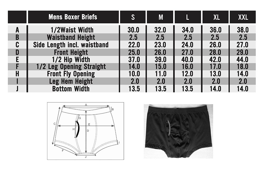 Frank and Beans underwear mens boxer briefs size chart in depth sizing