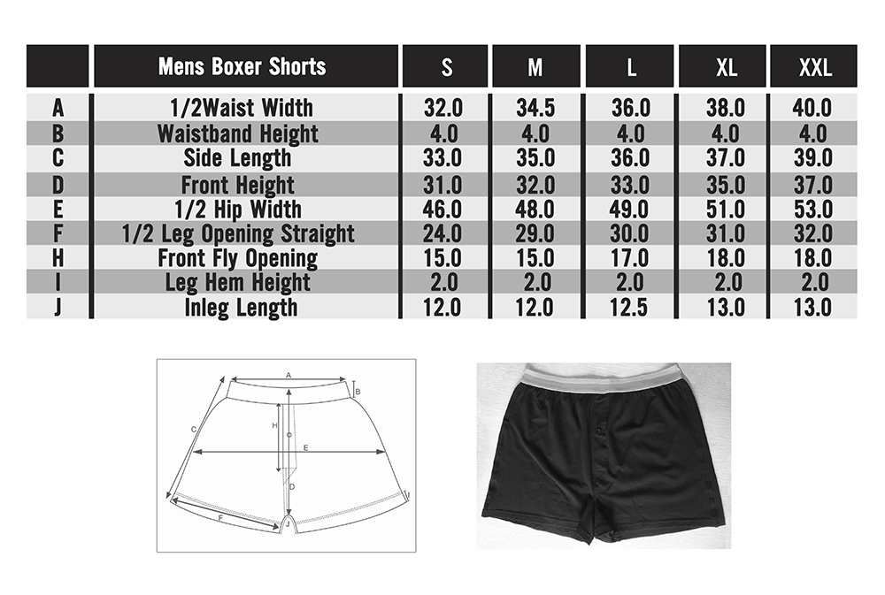 Frank and Beans underwear mens boxer shorts size chart in depth sizing