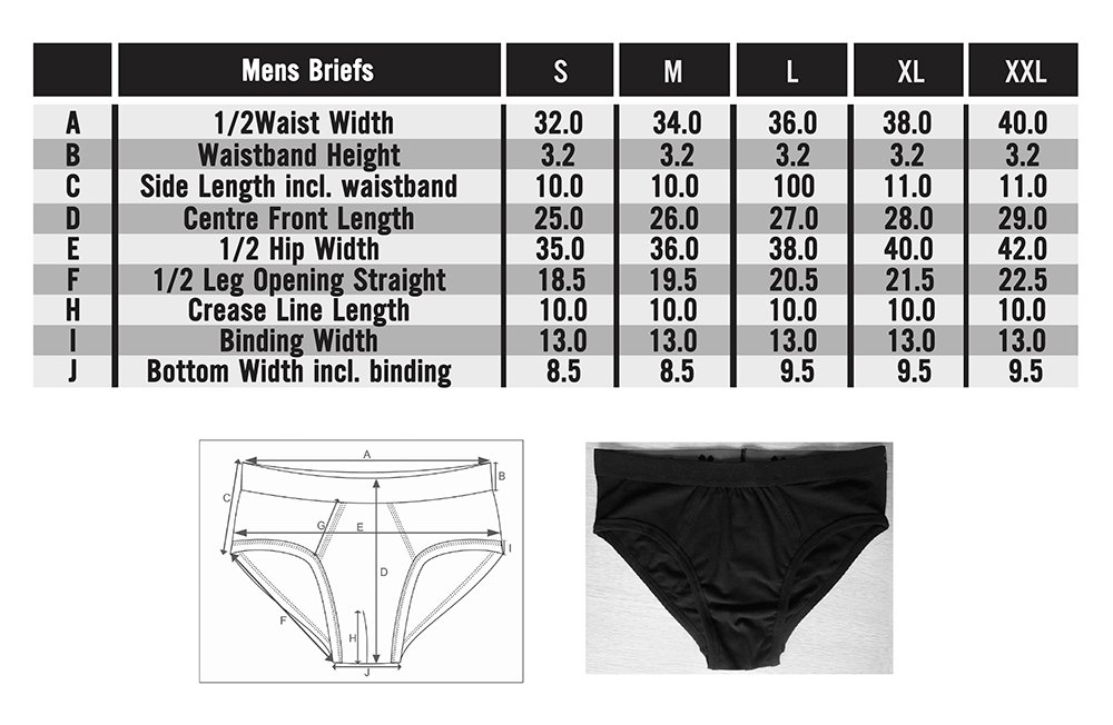 Frank and Beans underwear mens briefs size chart in depth sizing