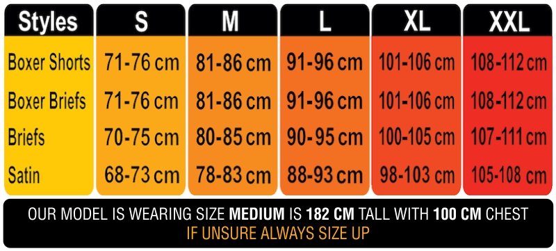 Frank and Beans Underwear mens size chart Australia