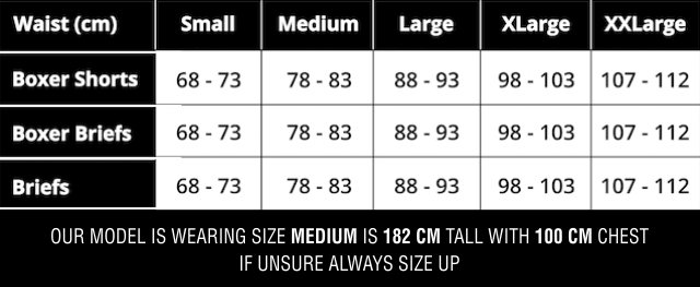 XY Edition Underwear size chart men Frank and Beans